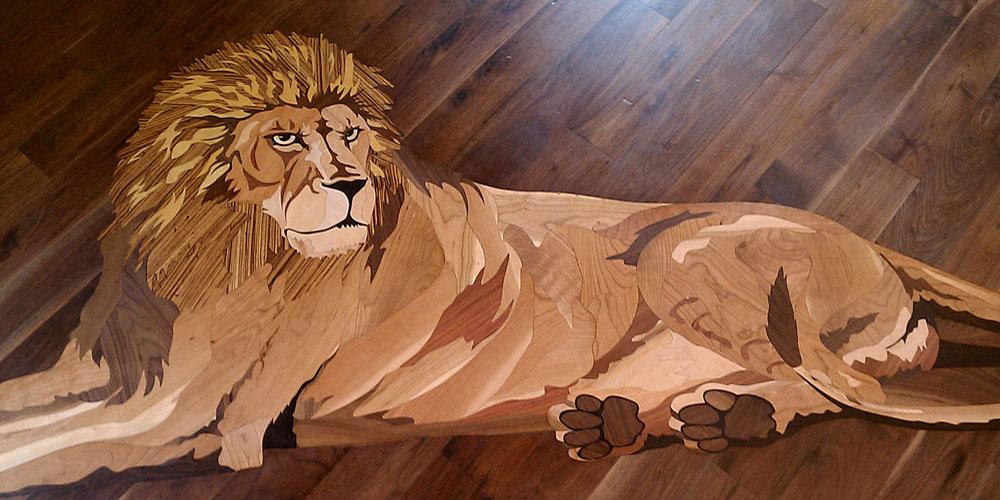 Lion wood flooring design wood floor inlaid medallion for Wood floor medallions inlay designs