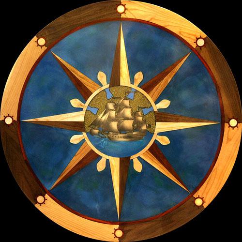 Floor medallions wood floor designs inlays borders for Wood floor medallion designs