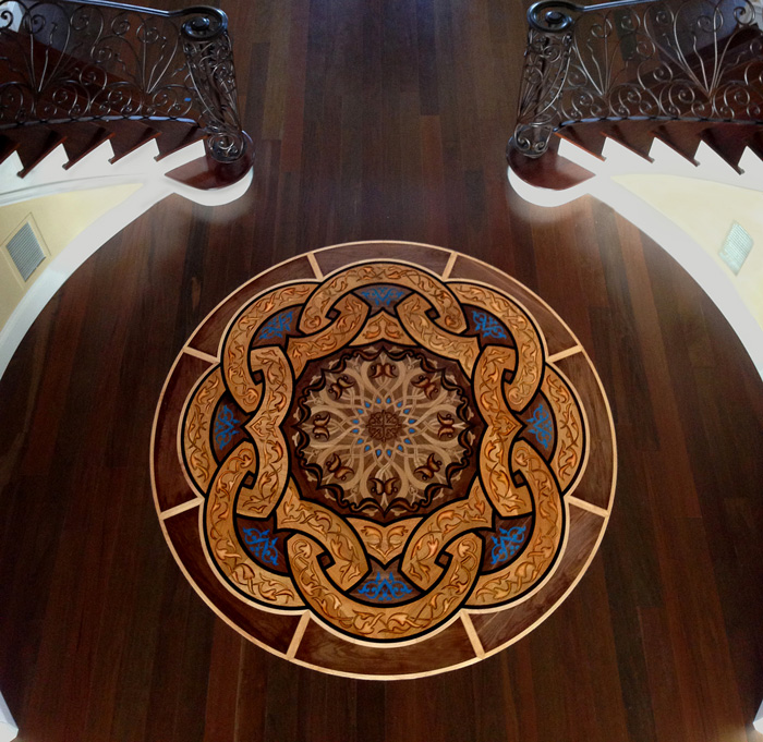 Impreial knot wood flooring medallion inlaid wood for Wood floor medallion designs